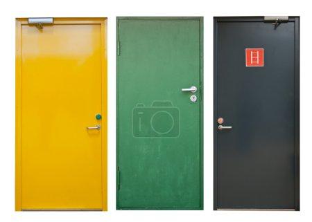 Photo pour Ensemble de portes colorées isolées sur blanc - image libre de droit