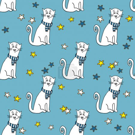 Illustration for Seamless pattern with funny cats - Royalty Free Image