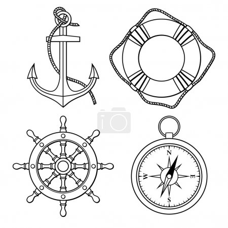 Illustration for Set with isolated anchor, lifebuoy, ship's wheel, compass on colour background - Royalty Free Image