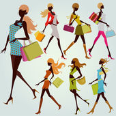 Illustration drawing of fashion shopping girls