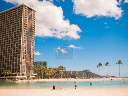 HONOLULU, HAWAII - FEB 2: View of Waikiki beach and Daimond head