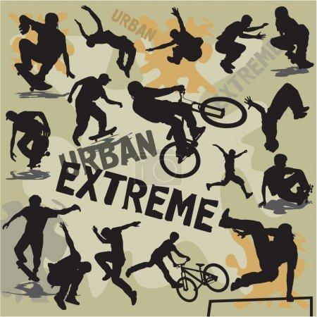 Set vector silhouettes urban extreme sports