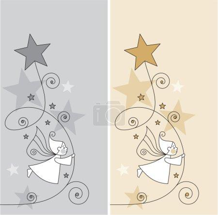 Illustration pour Vectoriels modifiables et évolutifs des cartes de voeux avec les elfes et les étoiles - image libre de droit