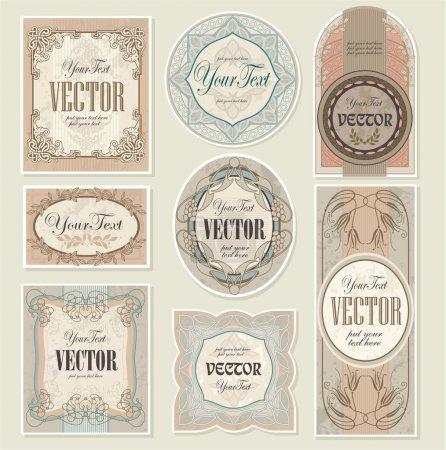 Ilustración de Conjunto vectoriales editables y escalables etiquetas vintage - Imagen libre de derechos