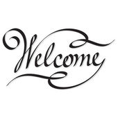 Editable and scalable vector hand lettering inscription welcome