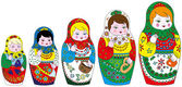 5 russian traditional matrioshkas vector set