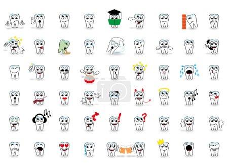 53 set tooth vector fun smiles