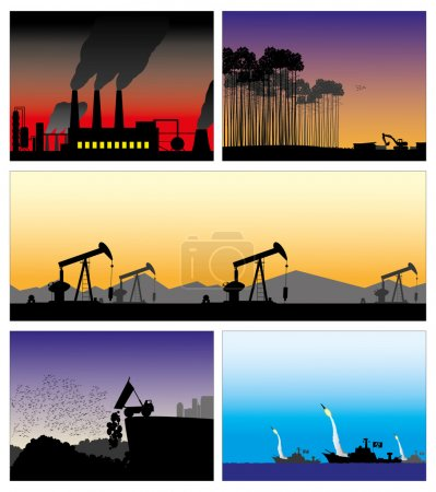 Illustration for 5 set vector pictures bad ecology - Royalty Free Image