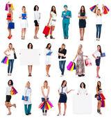 Kolekce modelů v různých situacích: doktor, nakupování, bus iness ženy