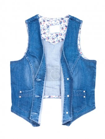 Blue jeans vest isolated on a white background