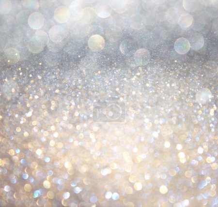 Photo for White and silver abstract bokeh lights. defocused background - Royalty Free Image