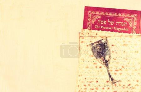 Passover background. wine and matzoh (jewish passo...