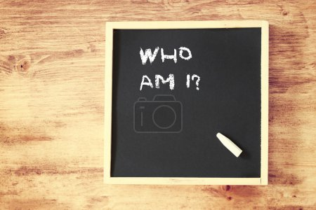 Photo for Phrase who am i concept written over chalkboard - Royalty Free Image