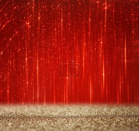 Foto de Luces bokeh Abstracto rojo y oro. Fondo Defocused - Imagen libre de derechos