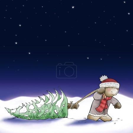 Cartoon christmas card with cute bear