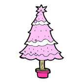 Cartoon pink christmas tree