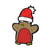 Festive Xmas Penguin Wearing A Santa Hat