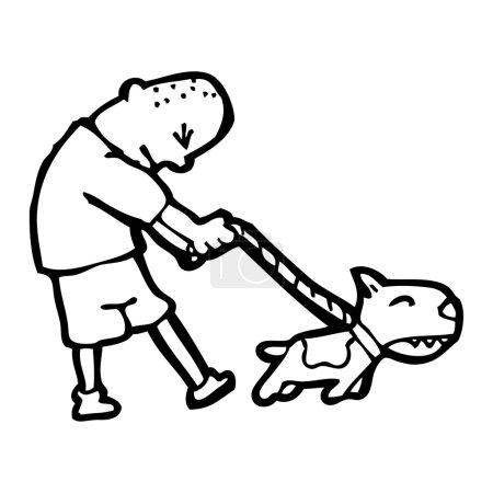 Man walking dog cartoon