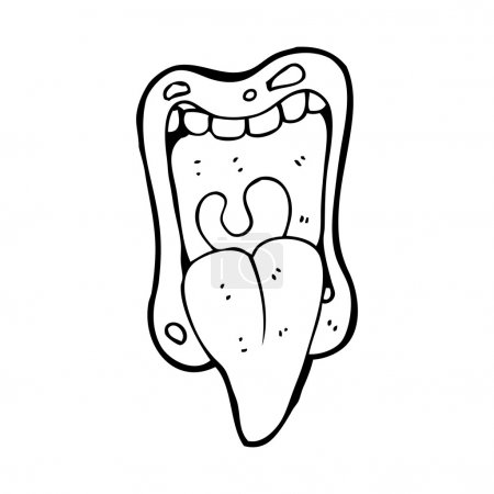 Illustration for Vector, wide open mouth with tongue sticking out cartoon on a white background - Royalty Free Image
