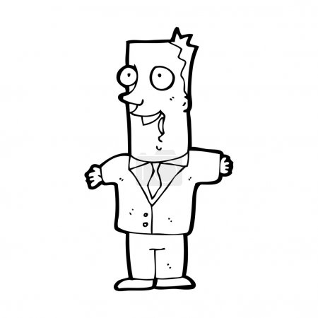 Vector, cartoon excited businessman on a white bac...