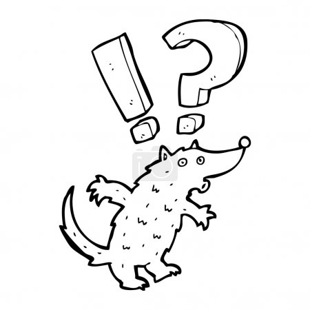 Illustration for Vector, surprised wolf cartoon on a white background - Royalty Free Image