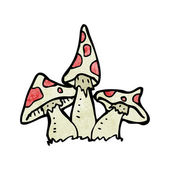 Vector cartoon toadstools on a white background