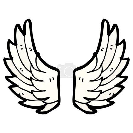 Illustration pour Vecteur, dessin animé des ailes d'ange sur un fond blanc - image libre de droit