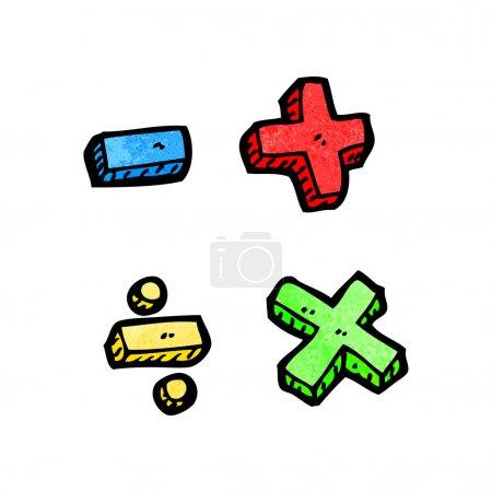 Vector, cartoon math symbols on a white background...