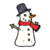 Xmas Winter Snowman With A Red Scarf