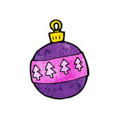 Cartoon Purple Xmas Bauble