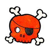 Red Pirate Skull With Cross Bones And An Eye Patch
