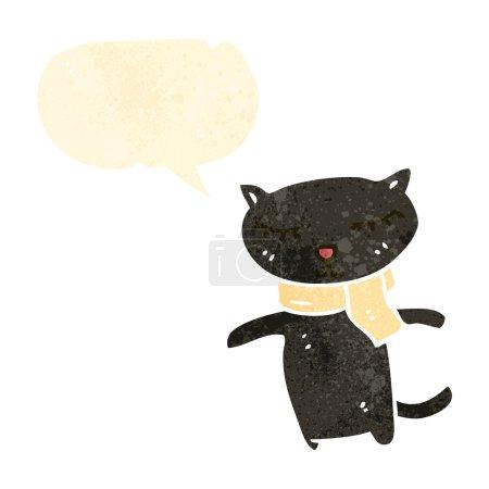 retro cartoon cute black cat