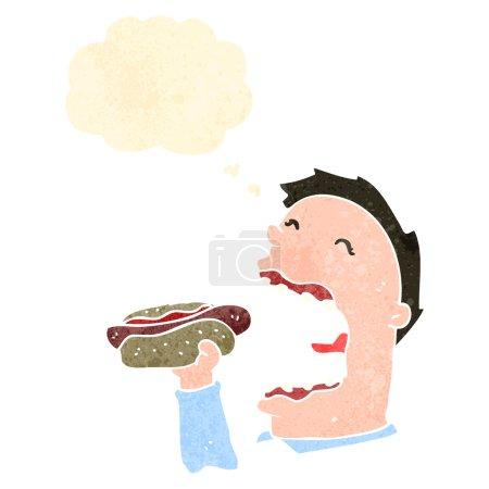Illustration pour Homme dessin animé rétro mangeant hotdog - image libre de droit