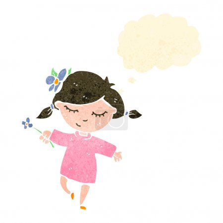 Illustration for Retro cartoon girl with flower - Royalty Free Image