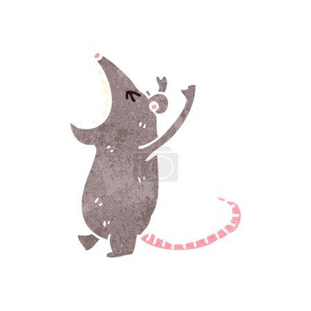 Retro cartoon roaring mouse