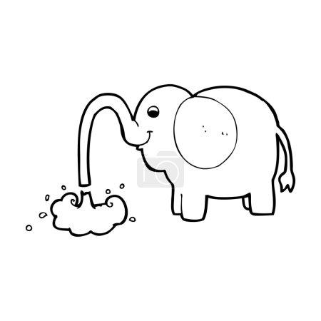 Cartoon elephant squirting water...
