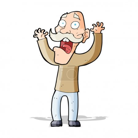 Cartoon old man getting a fright