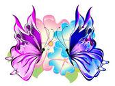 "Постер, картина, фотообои ""Бабочки с цветами"""