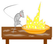 A rat on a table steps to the dish with cheese