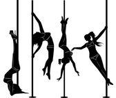Sada černé siluety tančící dívky striptýz