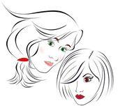 Krásnou dívku do obličeje. návrhové prvky barevné ilustrace