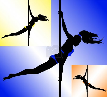 Black silhouette of a sexy girl dancing on a pole