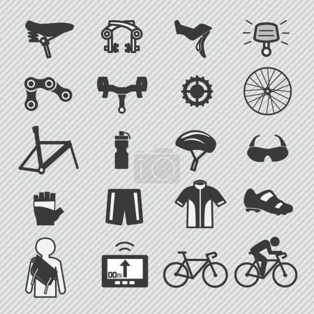 Illustration for Bike tools and equipment part and accessories set vector icon - Royalty Free Image