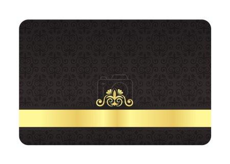 Illustration pour Carte VIP avec motif floral vintage en couleur noire - image libre de droit