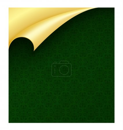 Dark green luxury wrapping paper with vintage pattern and curled golden corner