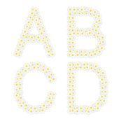 Letters ABCD composed from daisy flowers Complete alphabet in the gallery
