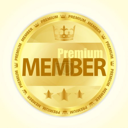 Badge with title Premium member in gold color