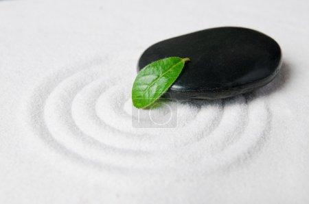 Photo pour Détail des galets jardin zen avec une feuille verte sur un sable blanc commissionnée - image libre de droit