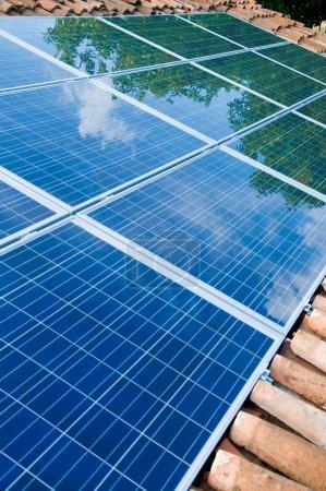 Foto de Árboles verdes y reflejo del cielo azul en paneles solares montados en un techo. Ir verde con energía renovable ! - Imagen libre de derechos