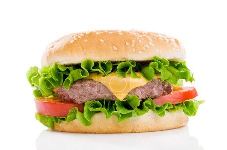 Photo for Big fresh delicious hamburger isolated on white background. Professional studio image - Royalty Free Image